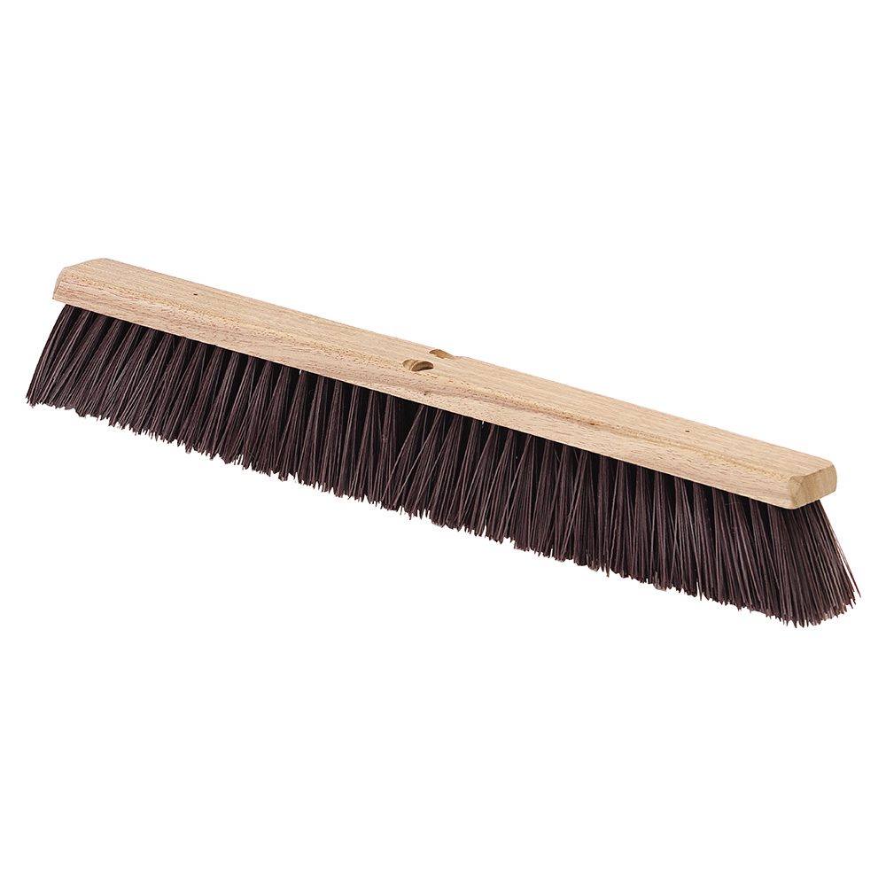 "Carlisle 4520201 24"" Floor Sweep - Coarse/Heavy, Hardwood Block, Maroon Poly Bristles, Brown"