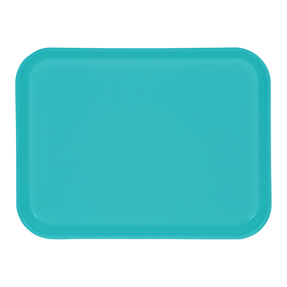 "Carlisle 4532FG011 Rectangular Cafeteria Tray - 17.72"" x 12.6"", Fiberglass, Turquoise"