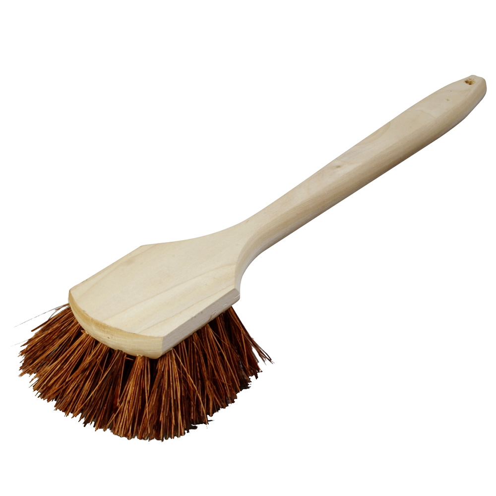 "Carlisle 4549300 Sparta Utility Scrub Brush, 20""Handle, Wood Block, Palmyra Bristles"