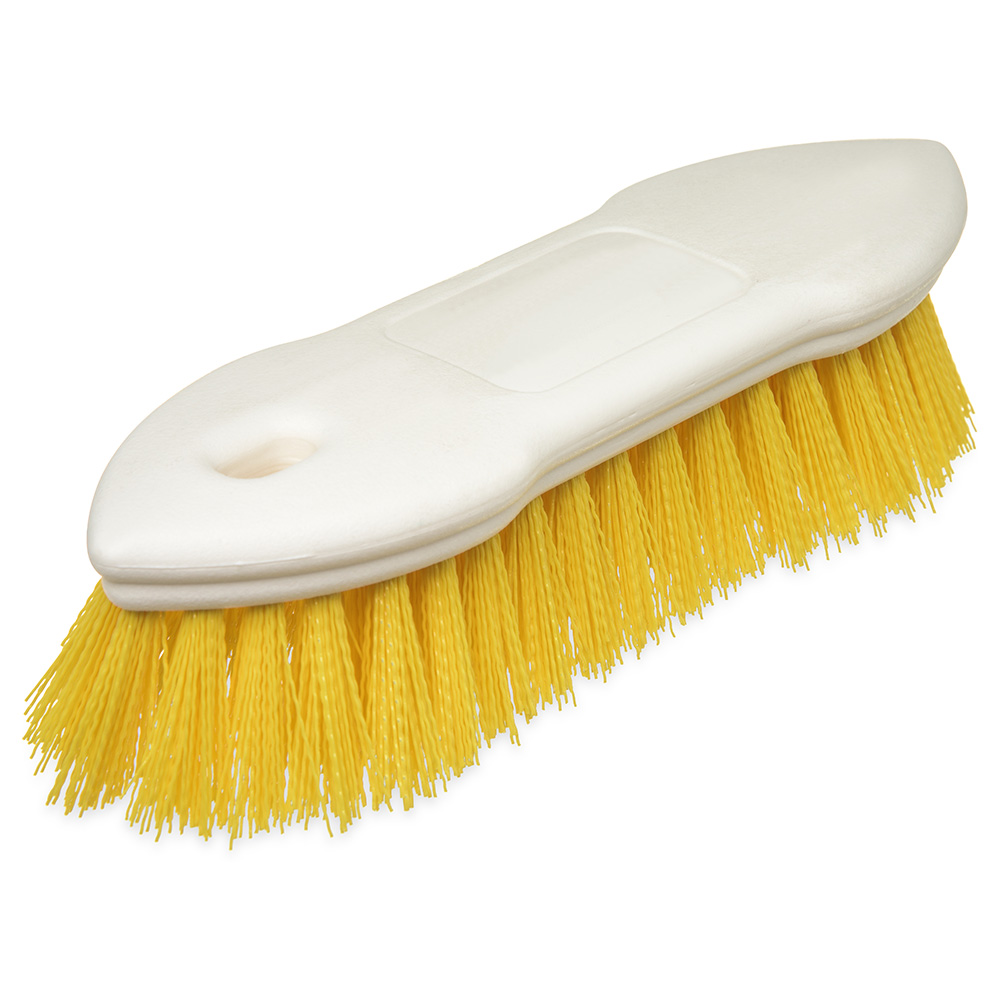 "Carlisle 4549404 8"" Scrub Brush w/ Polyester Bristles, Yellow"