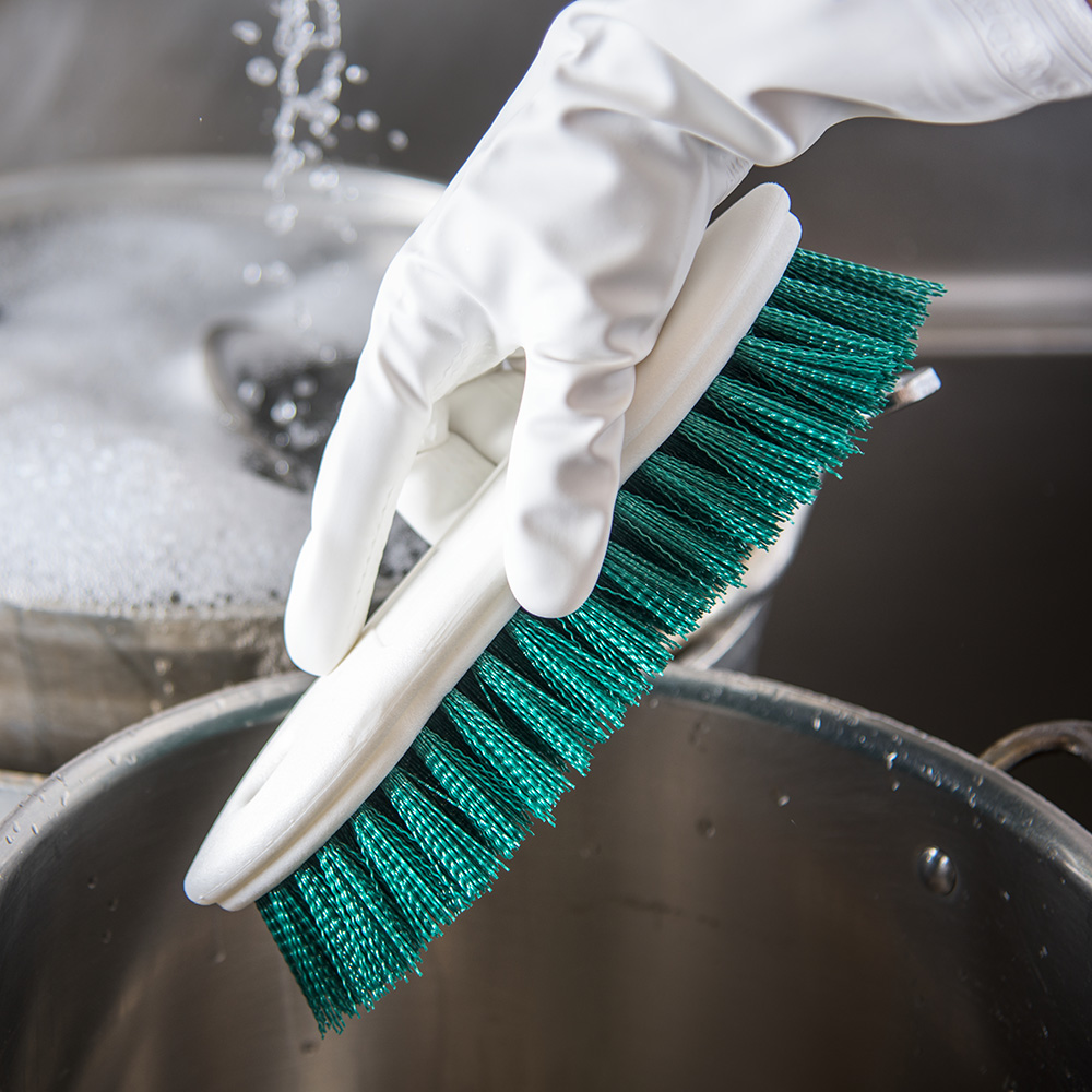 "Carlisle 4549409 8"" Scrub Brush w/ Polyester Bristles, Green"