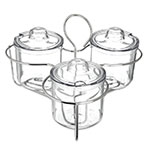 Carlisle 457307 Caddy with Three Condiment J-Jars & Lids