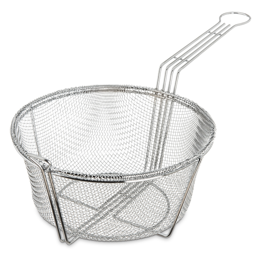 "Carlisle 601001 9.75"" Round Fryer Basket, Nickel Plated"