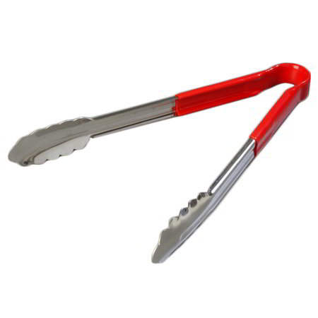 "Carlisle 60756605 16"" Utility Tongs - Stainless/Red"