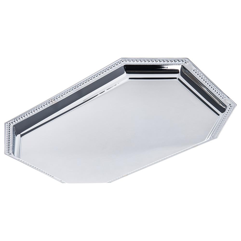 "Carlisle 608901 Octagonal Celebration Tray - 17-1/8x11-3/4"" Mirror-Finish Carbon Steel"