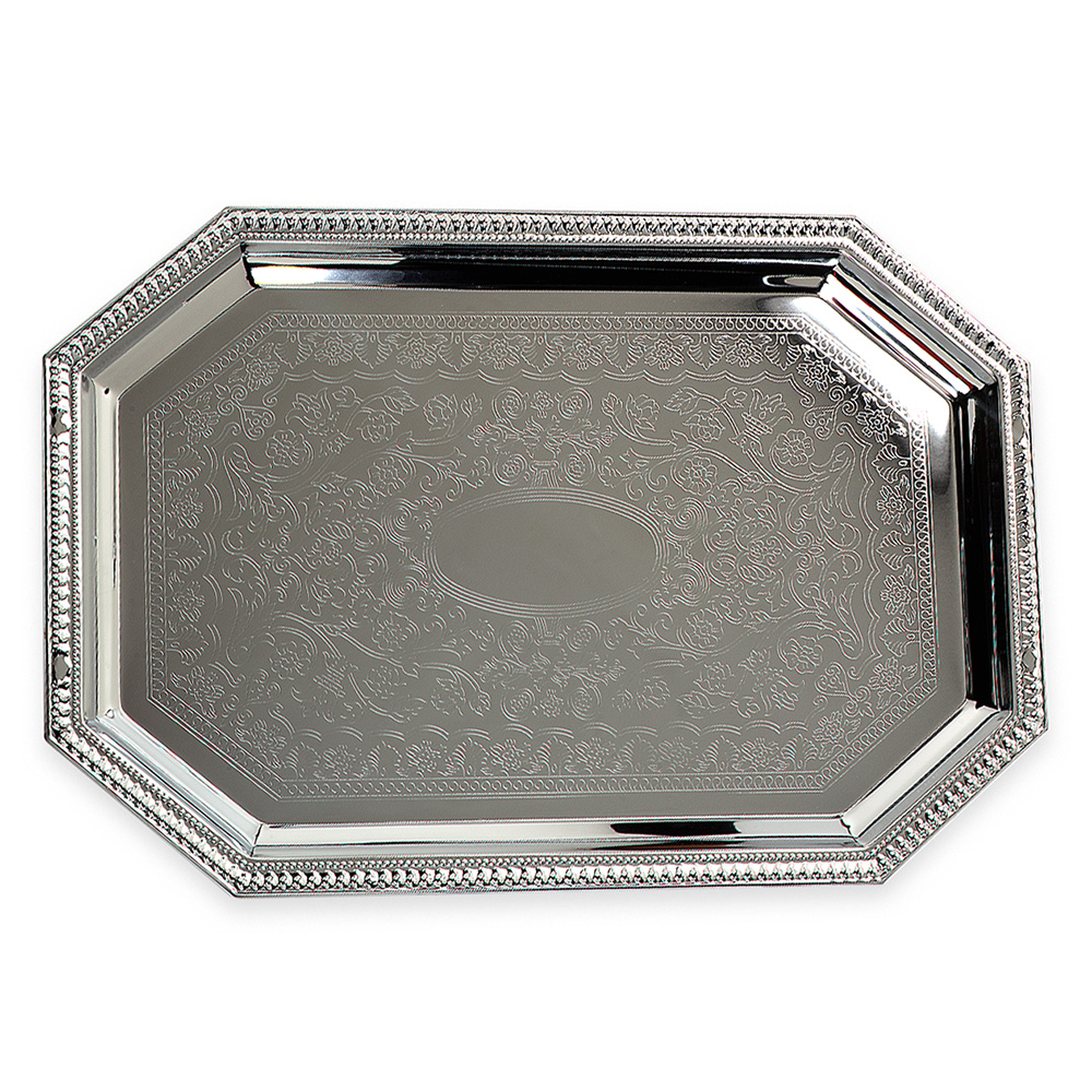 "Carlisle 608901 Octagonal Celebration Tray - 17-1/8x11-3/4"" Mirror-Finish Carbon Steel"