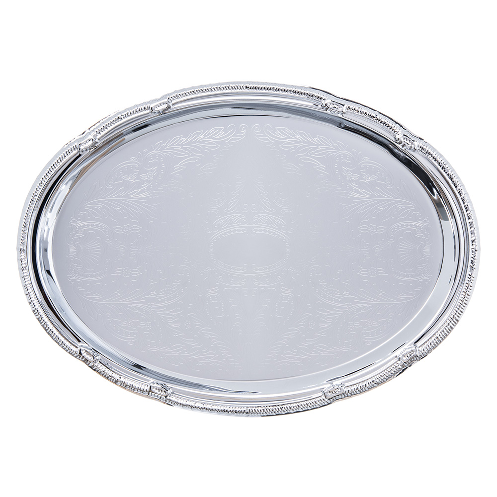 "Carlisle 608904 Oval Celebration Tray - 17-7/16x12-7/8"" Chrome-Plated"