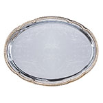 "Carlisle 608913 Oval Celebration Tray - 17-3/4x12-7/8"" Chrome Plated"