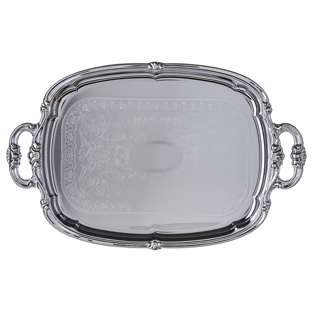"Carlisle 608919 Oval Celebration Tray - 20-7/8x13-1/2"" Chrome Plated"