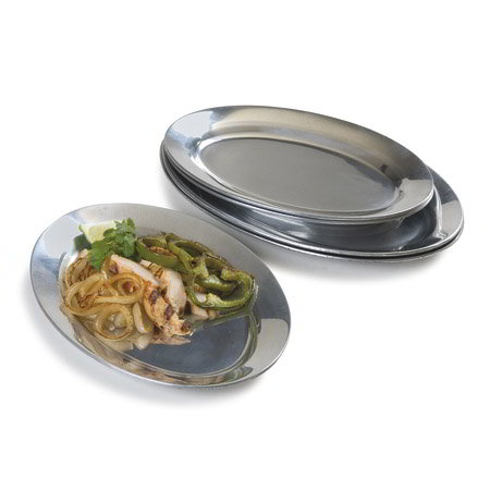"Carlisle 60900 Oval Steak/Fajita Platter - 10-1/4x7"" Mirror-Finish Aluminum"