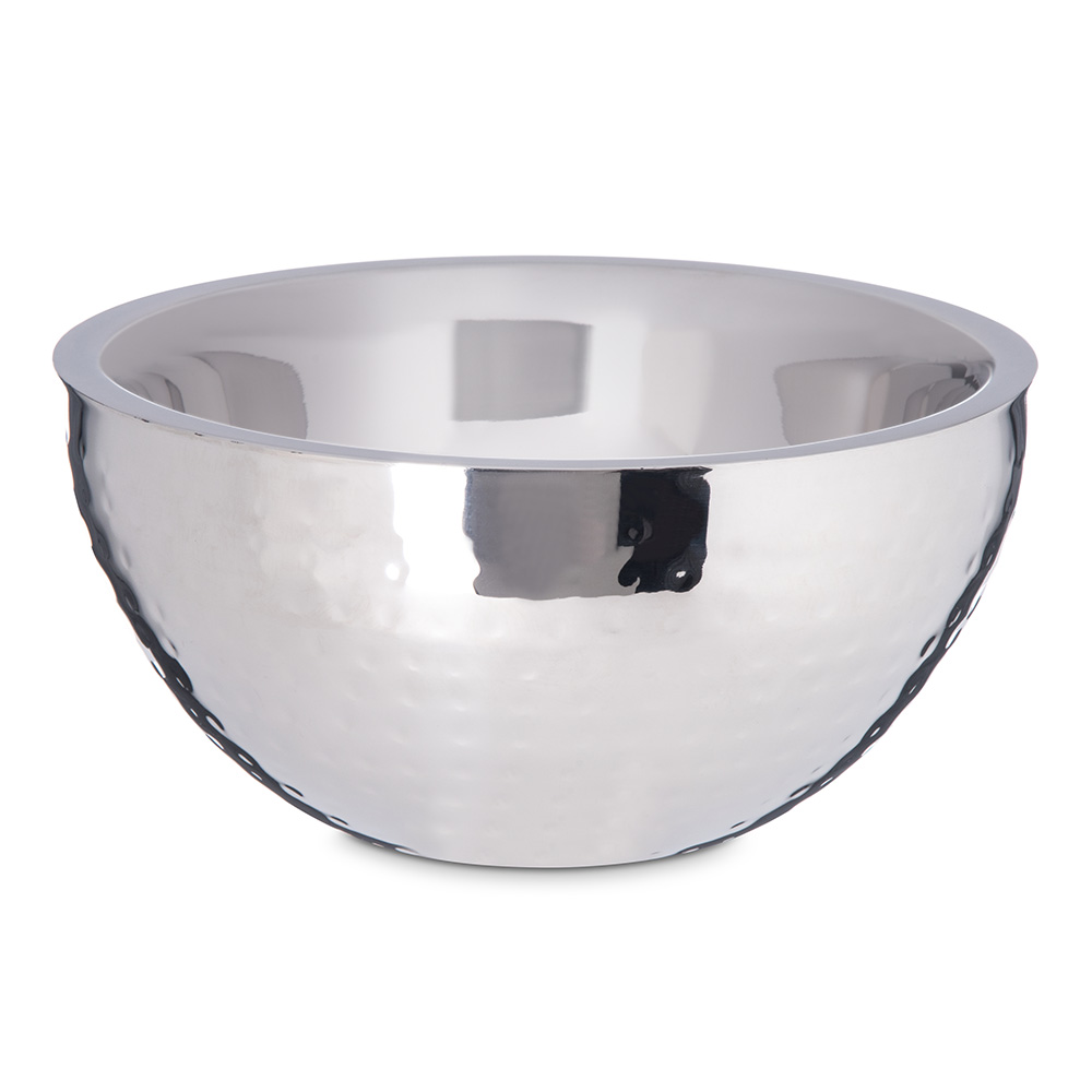 Carlisle 609201 1.7-qt Dual Angle Bowl - Hammered-Finish Stainless