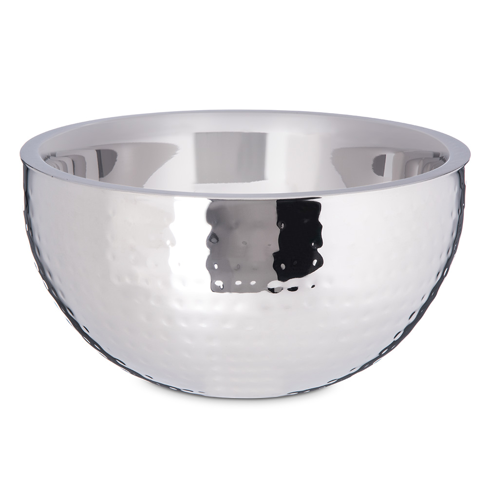 Carlisle 609202 3.38-qt Dual Angle Bowl - Hammered-Finish Stainless