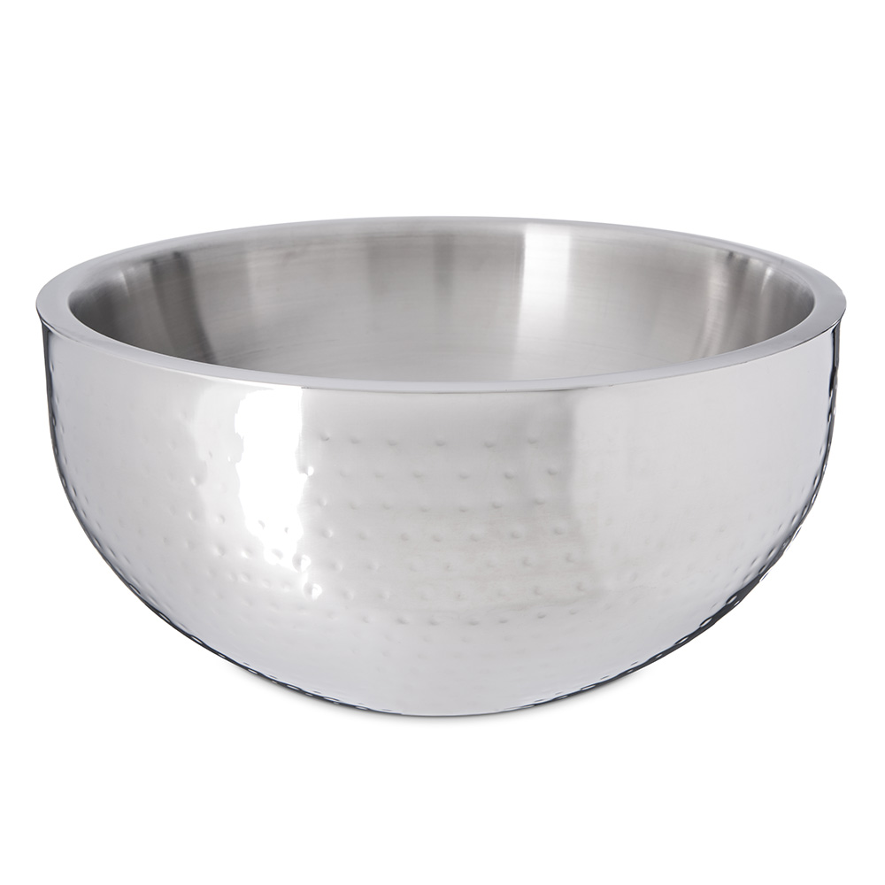 Carlisle 609204 9-1/2-qt Dual Angle Bowl - Hammered-Finish Stainless
