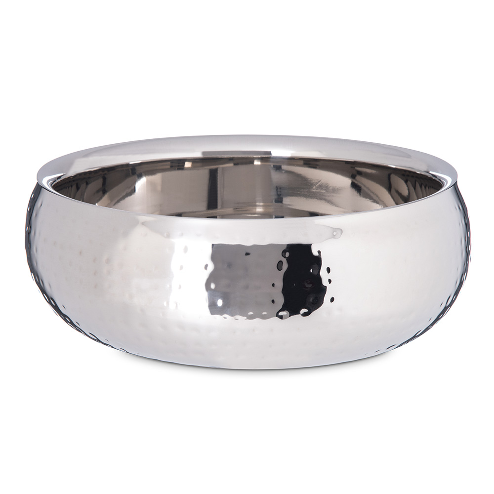 Carlisle 609208 2-1/2-qt Dual Angle Bowl - Hammered-Finish Stainless
