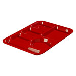 "Carlisle 61405 Rectangular (6)Compartment Tray - Left-Handed, 13-7/8x9-7/8"" Red"