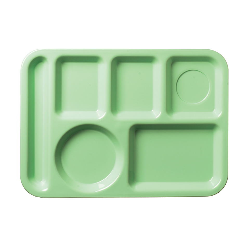 "Carlisle 61409 Rectangular (6)Compartment Tray - Left-Handed, 13-7/8x9-7/8"" Green"
