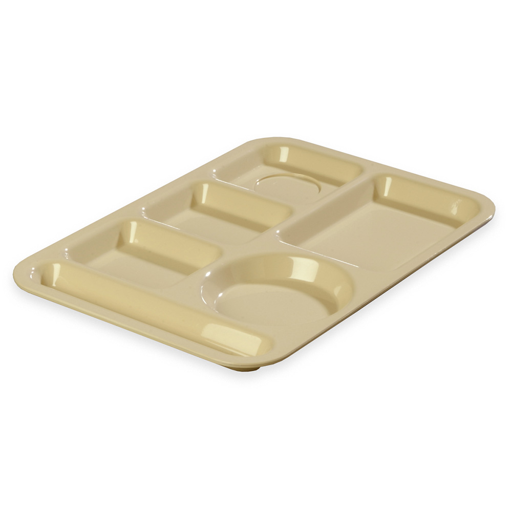"Carlisle 61425 Rectangular (6)Compartment Tray - Left-Handed, 13-7/8x9-7/8"" Tan"