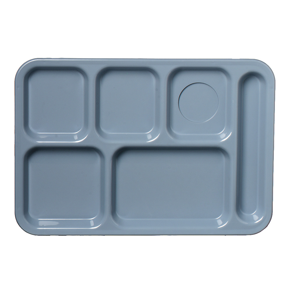 "Carlisle 61459 Rectangular (6)Compartment Tray - Left-Handed, 13-7/8x9-7/8"" Slate Blue"