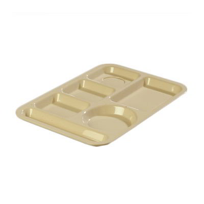 "Carlisle 614PC25 Rectangular (6)Compartment Tray - Left-Handed, 13-7/8x9-7/8"" Poly, Tan"
