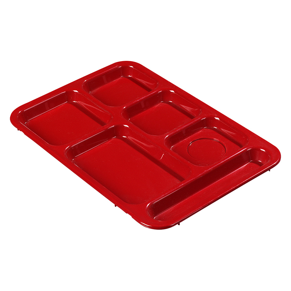 "Carlisle 614R05 Rectangular Tray w/ (6) Compartments, 14.375"" x 10"", Plastic, Red"
