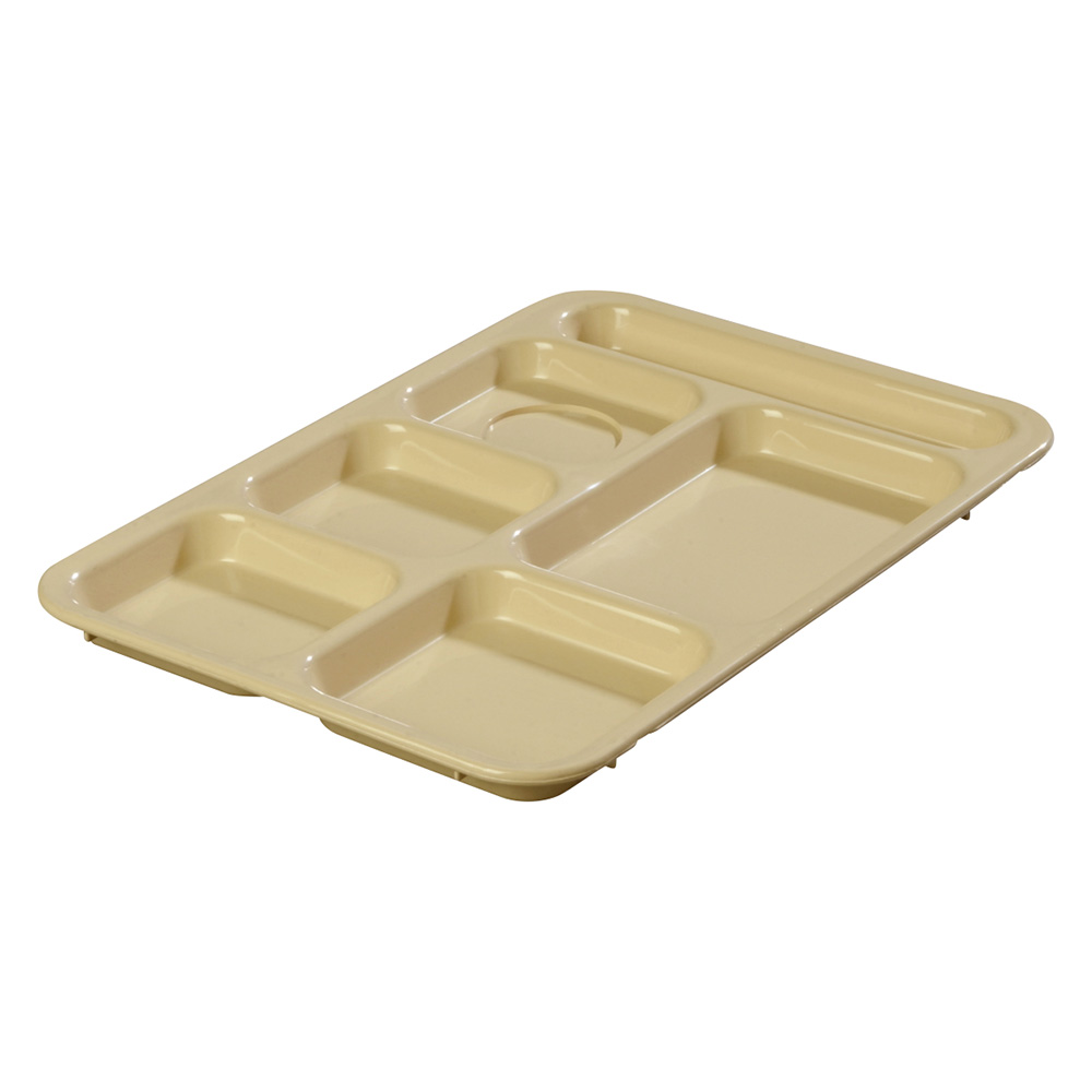 "Carlisle 614R25 Rectangular (6)Compartment Tray - Right-Handed, 14-3/8x10"" Tan"