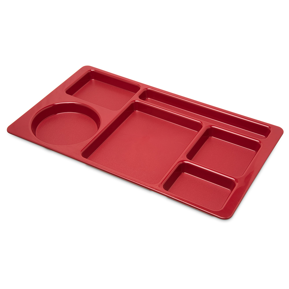 "Carlisle 61505 Rectangular Tray w/ (6) Compartments, 15"" x 8.75"", Plastic, Red"
