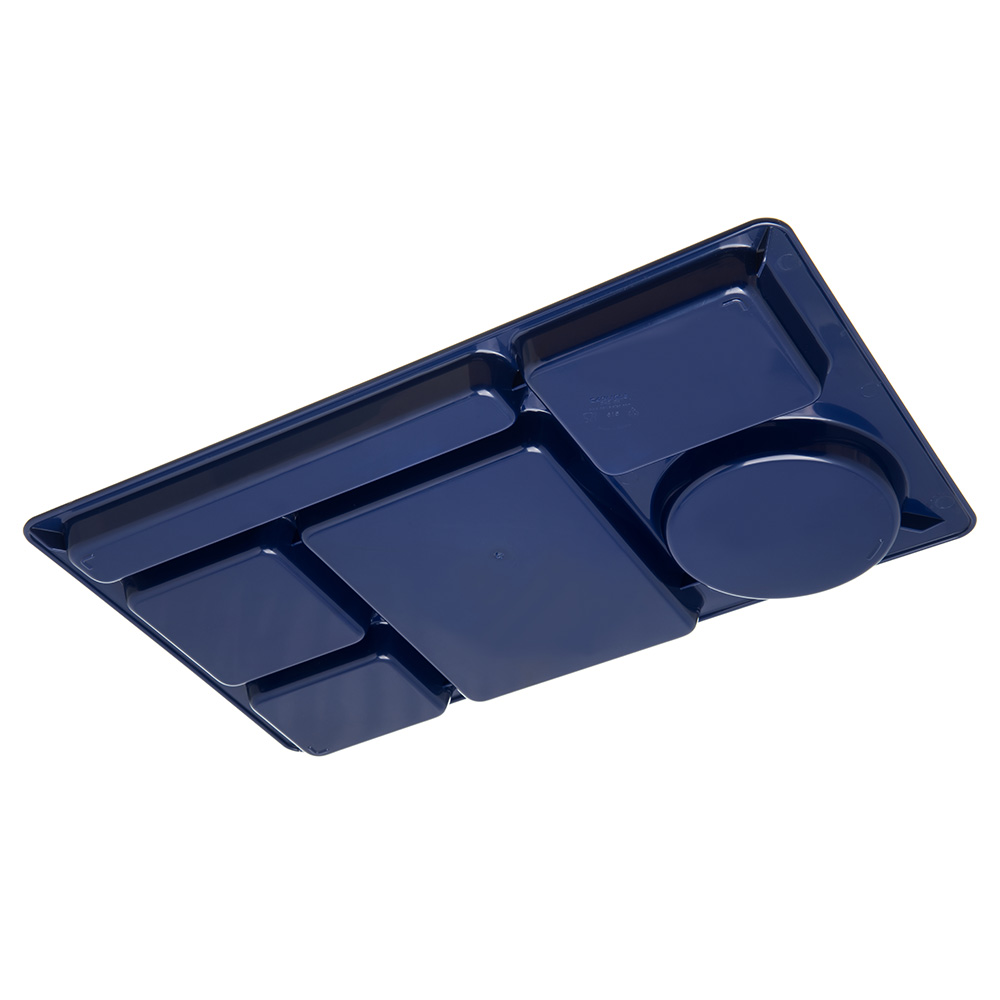 "Carlisle 61514 Rectangular Tray w/ (6) Compartments, 15"" x 8.75"", Plastic, Blue"