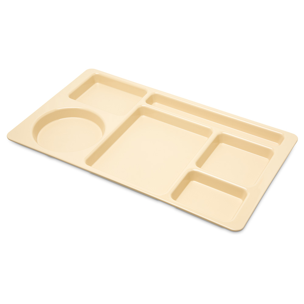 "Carlisle 61525 Rectangular (6)Compartment Tray - Left-Handed, 15x8-3/4"" Tan"