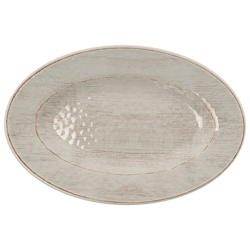 "Carlisle 6402006 Grove Oval Serving Plate - 12"" x 8"", Melamine, Buff"