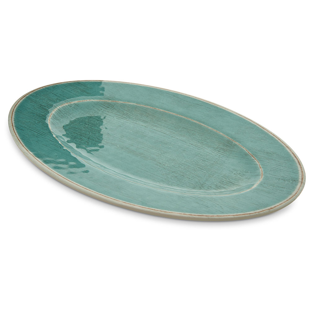 """Carlisle 6402015 Oval Plate - 12"""" x 8"""", Melamine, Aqua"""