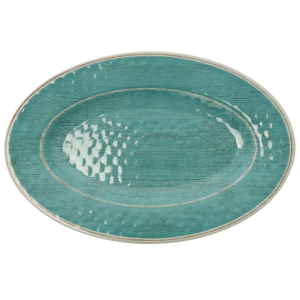 "Carlisle 6402015 Grove Oval Serving Plate - 12"" x 8"", Melamine, Aqua"