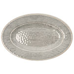 "Carlisle 6402018 Grove Oval Serving Plate - 12"" x 8"", Melamine, Smoke Gray"