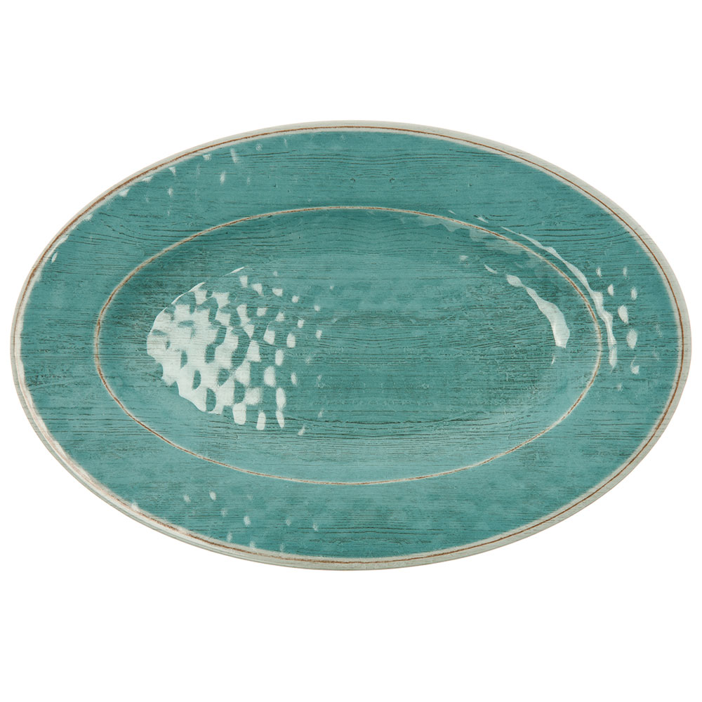 "Carlisle 6402115 Grove Oval Serving Tray - 20"" x 14"", Melamine, Aqua"