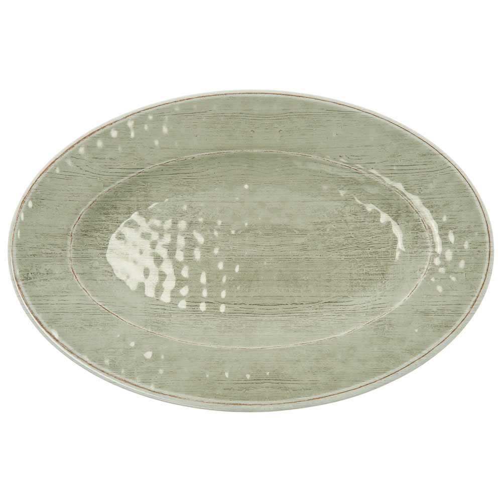 "Carlisle 6402146 Grove Oval Serving Tray - 20"" x 14"", Melamine, Jade"