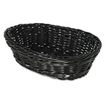 "Carlisle 655003 Oval Bread Basket - 9"" x 6.25"" x 2.5"", Polypropylene, Black"