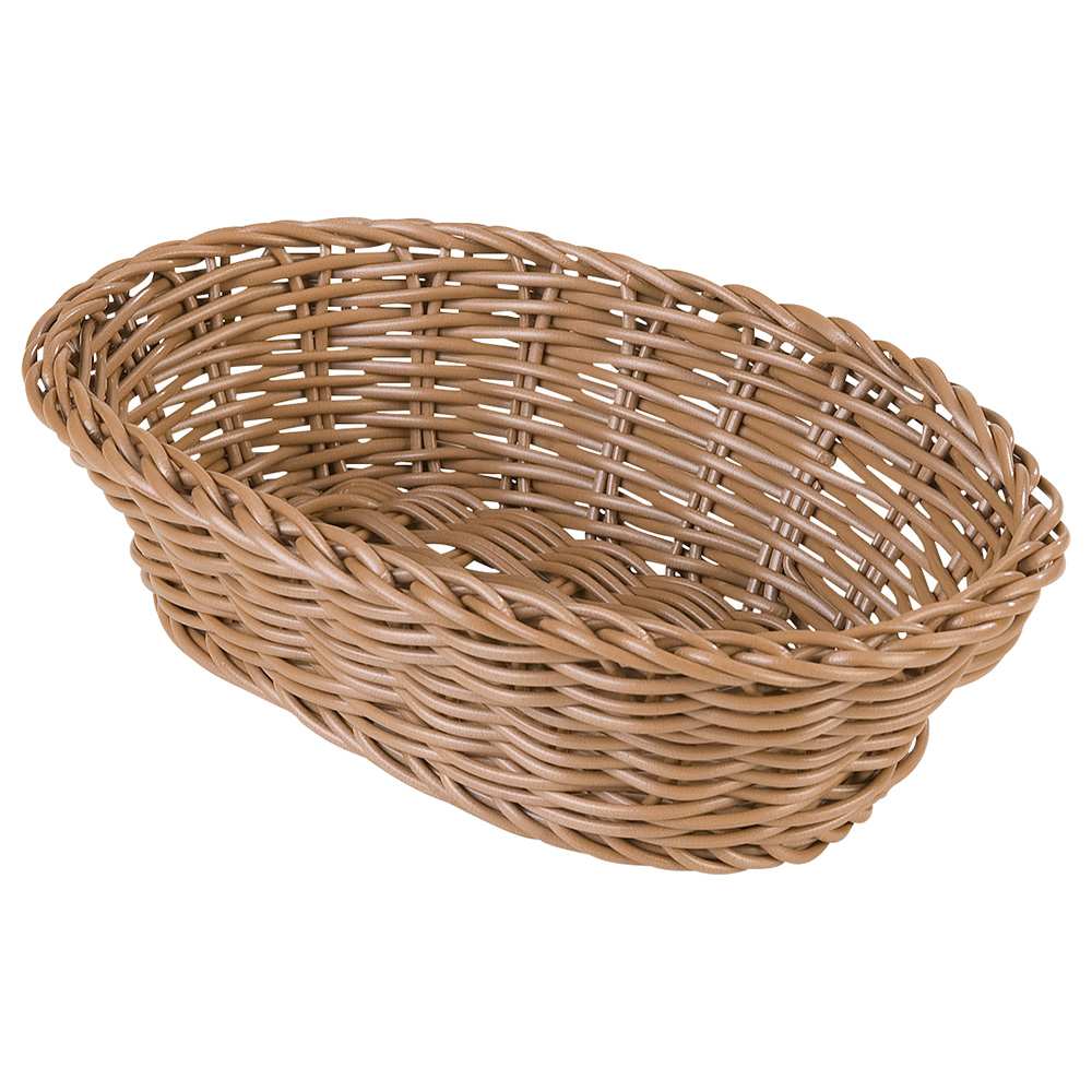 "Carlisle 6550 Oval Woven Basket - 9x6-1/4x2-1/2"" Polypropylene, Caramel"