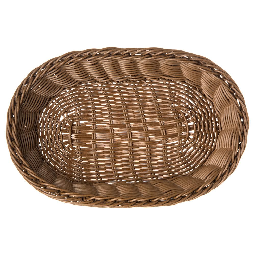 "Carlisle 655125 Oval Bread Basket - 11.75"" x 7.75"" x 2.75"", Polypropylene, Caramel"