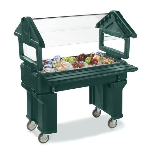 Carlisle 660508 Portable Food Bar - (3)Full-Size Pan Capacity, Polyethylene, Forest Green