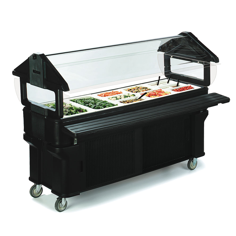 Carlisle 661103 Portable Food Bar - (5)Full-Size Pan Capacity, Sneeze Guard, Black