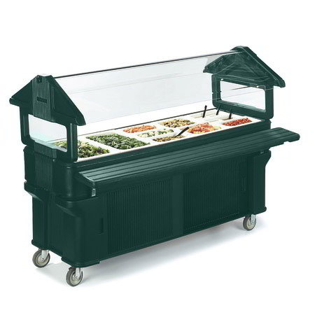 Carlisle 661108 Portable Food Bar - (5)Full-Size Pan Capacity, Sneeze Guard, Forest Green