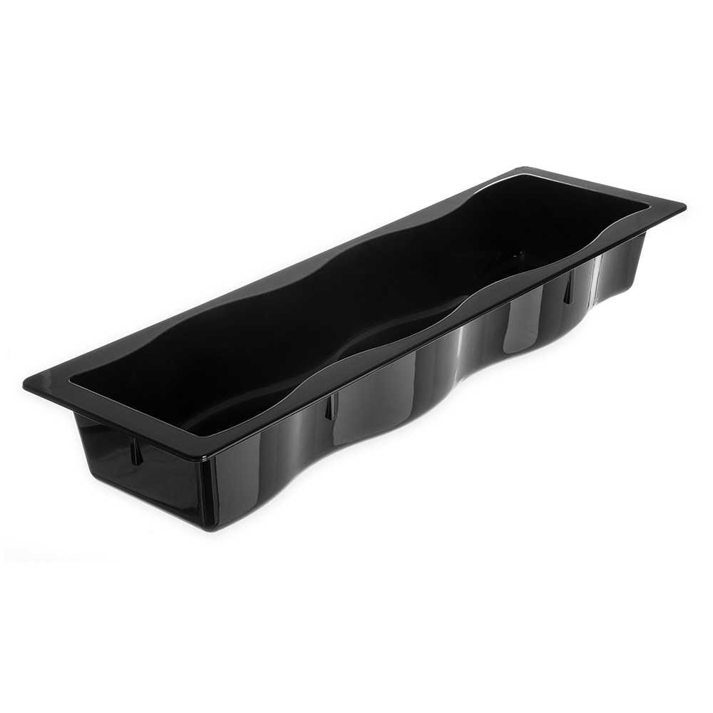 "Carlisle 6990-03 Modular Displayware Pan - Half-Size Long, Wavy Edge, 2-1/2"" D, Black"