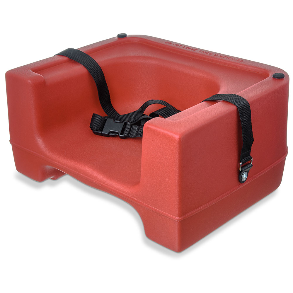 Carlisle 7111-405 Dual Booster Seat - Adjustable Strap, Polyethylene, Red