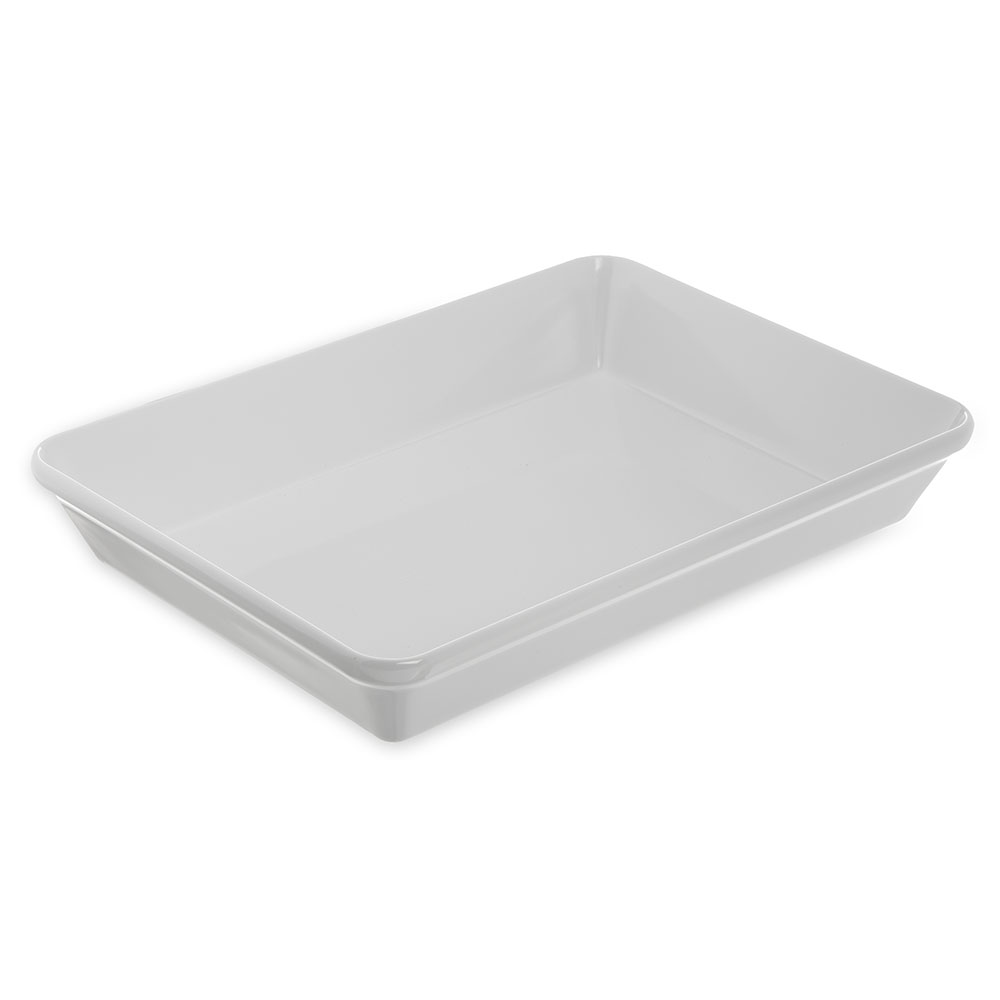 """Carlisle 792002 Rectangular Platter - 14"""" x 9.5"""", Melamine, White"""