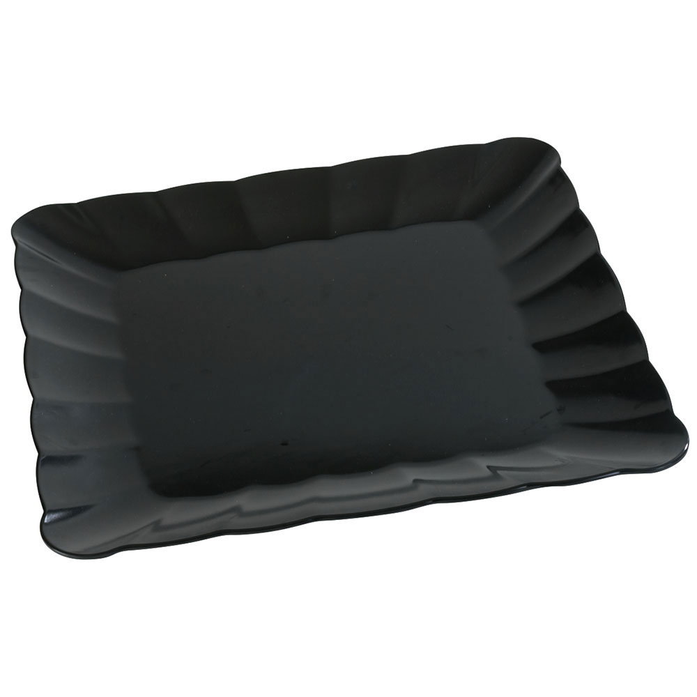 "Carlisle 792603 16-3/4"" Square Platter - Scalloped Edge, Melamine, Black"