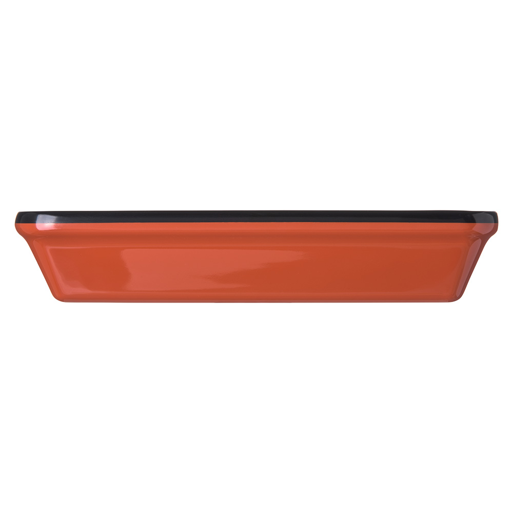 "Carlisle 8919406 Rectangular Pasta Bowl w/ 2.9-qt Capacity, 12"" x 8.5"", Melamine, Black/Terra Cotta"