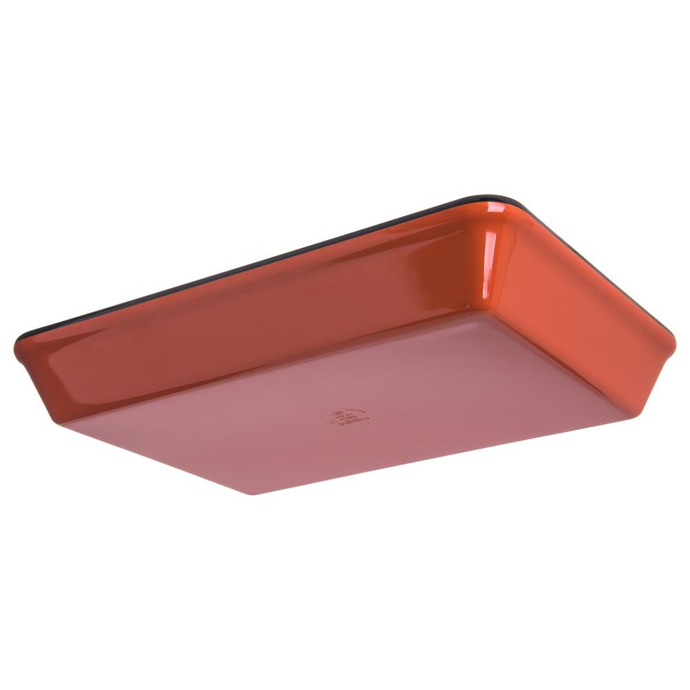 "Carlisle 8920406 Rectangular Platter w/ 4-qt Capacity, 14"" x 9.5"", Melamine, Black/Terra Cotta"