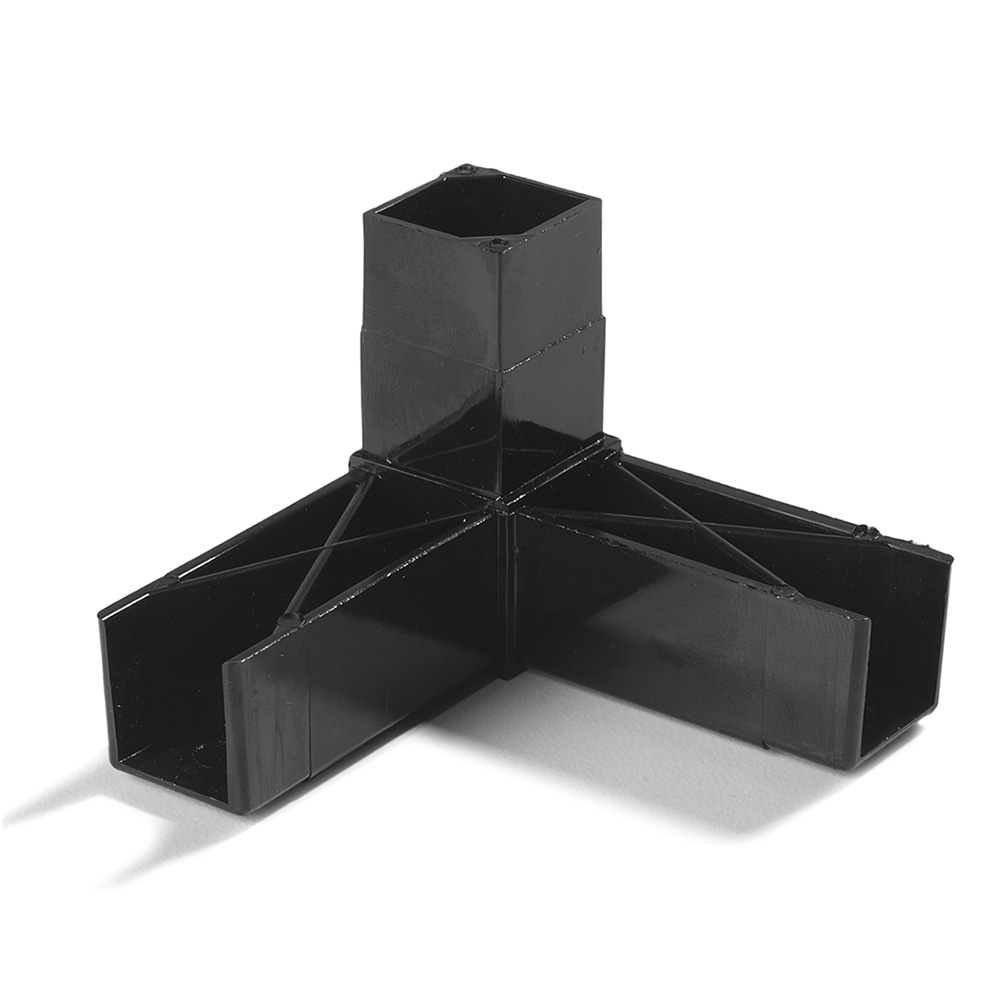 "Carlisle 900203 Sneeze Guard Assembly Block - 1"" Square, 90-Angle, Polycarbonate, Black"