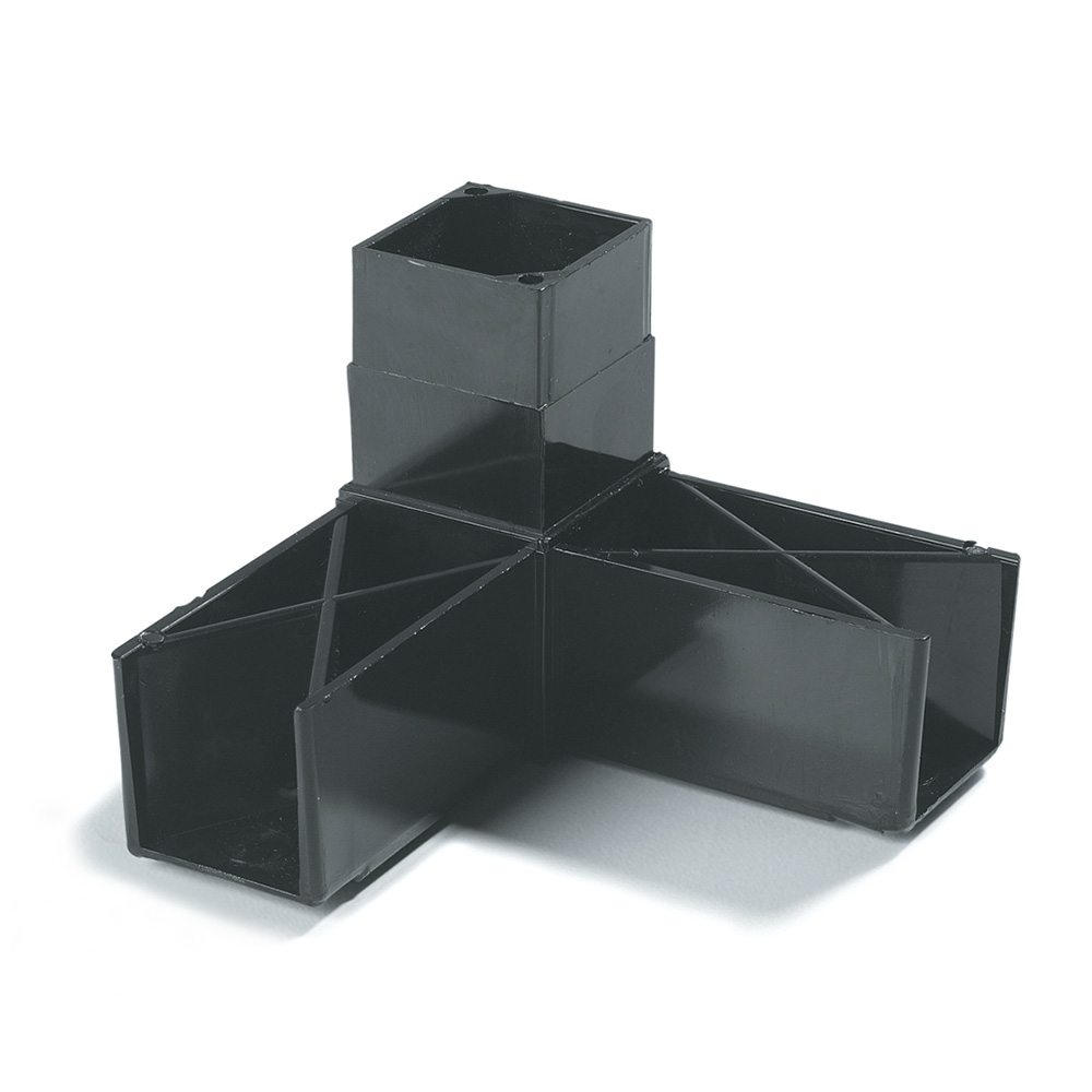 "Carlisle 900303 Sneeze Guard Assembly Block - 1-1/4"" Square, 90-Angle, Black"