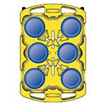 Carlisle ADD603 Dish Dolly - Poker Chip Design, 6-Dividers, Polyethylene, Black