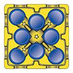 Carlisle ADS403 Small Dish Dolly - Poker Chip Design, 4-Dividers, Polyethylene, Black